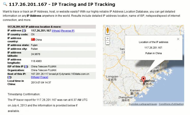 Géolocalisation d'une adresse IP