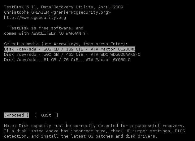 Console du logiciel Testdisk